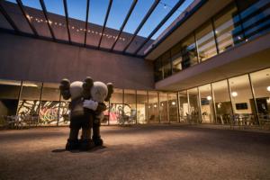 Installation view of KAWS: FAR FAR DOWN from courtyard