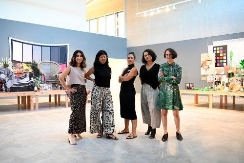 Misa Jeffereis, Stephanie Syjuco, Wassan Al-Khudhairi, Bethany Collins, and Jen Nugent on opening night, September 2019. Photo: Michael Thomas.
