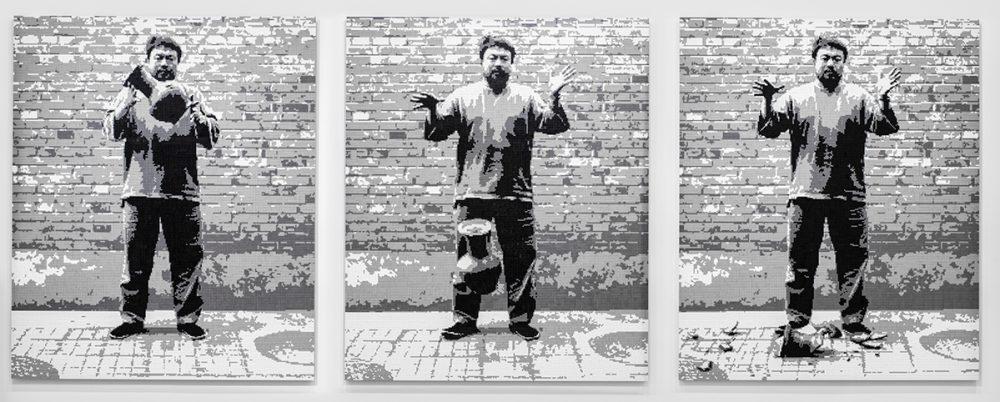 Ai Weiwei (Chinese, b. 1957), <em>Dropping a Han Dynasty Urn</em>, 2015. LEGO bricks, triptych, 94 1/2 x 78 3/4 x 1 3/16 inches each. Courtesy Ai Weiwei Studio.