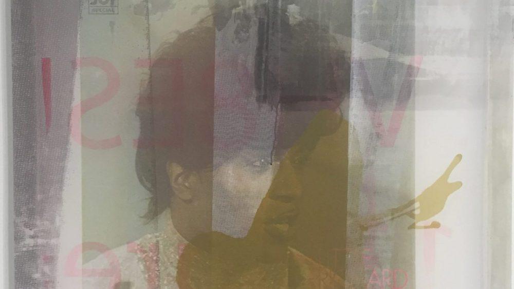 Kelley Walker, <em>Little Richard Sound Board Transparency</em> (detail), 2016. Acrylic ink, MDF panel on silkscreen on aluminum frame.