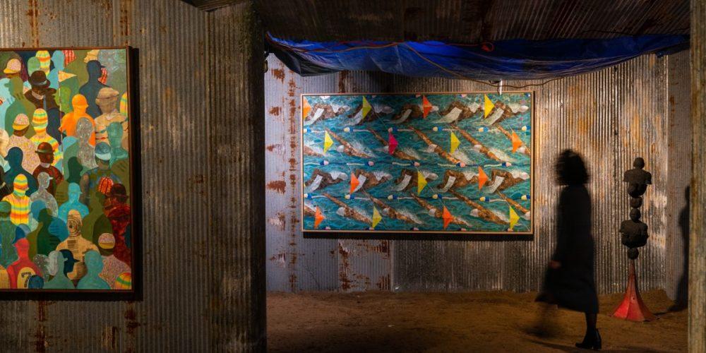 <em>Derek Fordjour: SHELTER</em>, installation view.Contemporary Art Museum St. Louis, January 17–August 23, 2020. Photo: Dusty Kessler.
