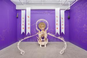 Guadalupe Maravilla, <em>Disease Thrower #4</em>, 2019. Mixed media sculpture, 96 x 57 x 63 in.