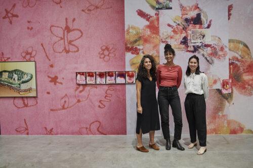 Chief Curator Wassan Al-Khudhairi, artist Farah Al Qasimi, and Assistant Curator Misa Jeffereis in front of Al Qasimi's installation <em>Everywhere there is splendor</em>. Photo: Wil Driscoll.