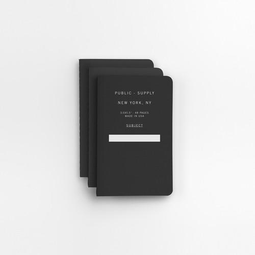 "Black 3.5"" x 5.5"" 3pk Ruled Notebooks"