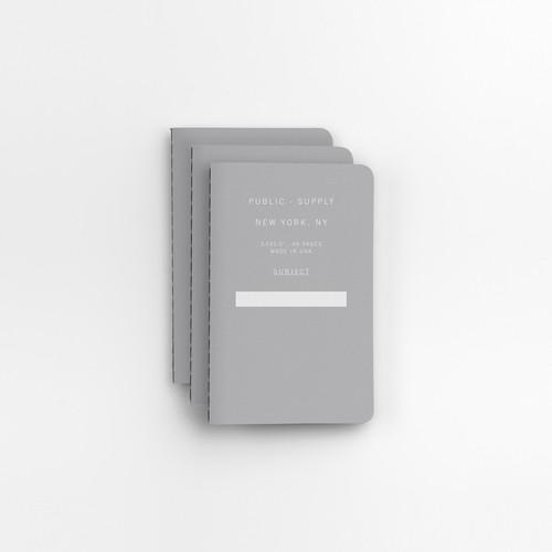 "Gray 3.5"" x 5.5"" 3pk Ruled Notebooks"