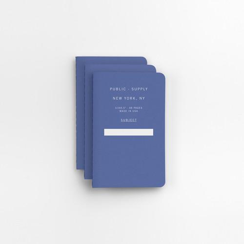 "Blue 3.5"" x 5.5"" 3pk Ruled Notebooks"