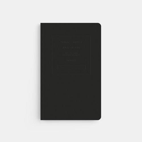 "Black 5"" x 8"" Embossed Ruled Notebook"